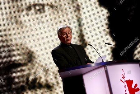 Greek Director Constantin Costa-gavras Delivers a Speech at the Golden Bear Award Ceremony For German Actor Armin Mueller-stahl During the 61st Berlin International Film Festival in Berlin Germany 18 February 2011 the 61st Berlinale Takes Place From 10 to 20 February Germany Berlin