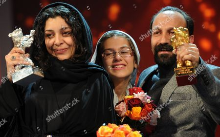 Iranian Director Asghar Farhadi (r)áand Actresses Sareh Bayat (l) and Sarina Farhadi (c) Hold Their 'Golden Bear' For Best Movie and 'Silver Bear' For Best Actresses Awards During the Awarding Ceremony at the 61st Berlinale International Film Festival in Berlin Germany on 19 February 2011 Evening Iranian Director Asghar Farhadi's Movie 'Jodaeiye Nader Az Simin' (nader and Simin a Separation) Scooped Up a String of Top Prizes at the Berlin Film Festival on 19 February Including the Berlinale's Prestigious 'Golden Bear' For Best Motion Picture Germany Berlin