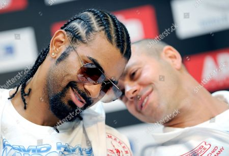 Heavy Weight Boxer David Haye Speaks with His Manager and Coach Adam Booth During a Press Conference in Hamburg Germany 27 June 2011 Next Saturday 02 July 2011 the Wbo Ibf and Wba Boxing Associations World Championship Fight Takes Place at Imtech-arena Germany Hamburg