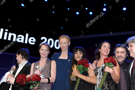 (l-r) Director Adrian Biniez Austrian Actress Birgit Minichmayr President of the Berlina Jury Tilda Swinton Actress Magaly Solier Director Claudia Llosa and Producers Antonio Chavarrias and Jose Maria Morales Pictured During the Award Ceremony at the 59th Berlin International Film Festival in Berlin Germany 14 February 2009 the Film 'The Milk of Sorrow' by Llosa with Solier was Awarded with the Golden Bear For Best Film Ade's Film 'Everyone Else' was Awarded with the Silver Bear Jury Grand Prix Starring Minichmayr who was Awarded with the Silver Bear Best Actress For Her Performance in the Film Germany Berlin
