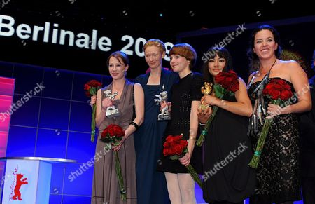 (l-r) Austrian Actress Birgit Minichmayr President of the Berlinale Jury Tilda Swinton German Director Maren Ade Actress Magaly Solier and Director Claudia Llosa Pictured During the Award Ceremony at the 59th Berlin International Film Festival in Berlin Germany 14 February 2009 the Film 'The Milk of Sorrow' by Llosa with Solier was Awarded with the Golden Bear For Best Film Ade's Film 'Everyone Else' was Awarded with the Silver Bear Jury Grand Prix Starring Minichmayr who was Awarded with the Silver Bear Best Actress For Her Performance in the Film Germany Berlin