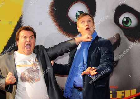 Usáactor Jack Black (l) and German Actor Hape Kerkeling Pose During the Premiere of 'Kung Fu Panda 2' in Berlin ágermany 07 June 2011 Black Voices the Role of Po in the Movie That Opens in German Theatres on 16 June Germany Berlin