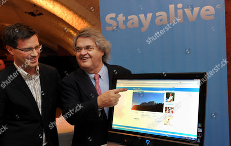 German Publicist Helmut Markwort (r)áand His Business Partner Matthias Krage (l)ápresent the New Internet Project 'Stayalive'áin Munich Germany 09 November 2010 the Internet Portal Enables Registered Users to Store Photos and Text Documents For the Eternity After One's Death Germany Munich