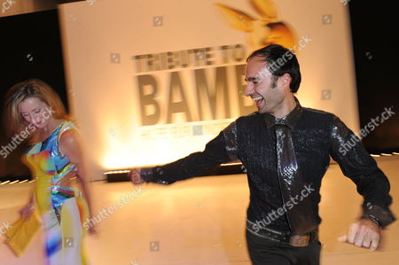 Stock Image of A Picture Dated 09 October 2009 Shows German Television Host Bettina Cramer (l) and Fashion Designer Ivan Strano Attending the 'Tribute to Bambi' Gala at the 'Station-berlin' in Berlin Germany the Proceeds From the Charity Event Benefit the Foundation 'Tribute to Bambi' That Supports Children in Need in Germany Germany Berlin