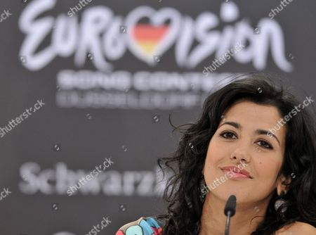 Lucia Perez Representing Spain Attends the Big Five Press Conference at Eurovision Song Contest in Duesseldorf Germany 13 May 2011 the Big Five Are Countries That Automatically Qualify For the Eurovision Finals the Final of the 56th Eurovision Song Contest Takes Place on 14 May 2011 Germany Duesseldorf