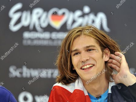 Amaury Vassili Representing France Smiles During the Big Five Press Conference at Eurovision Song Contest in Duesseldorf Germany 13 May 2011 the Big Five Are Countries That Automatically Qualify For the Eurovision Finals the Final of the 56th Eurovision Song Contest Takes Place on 14 May 2011 Germany Duesseldorf
