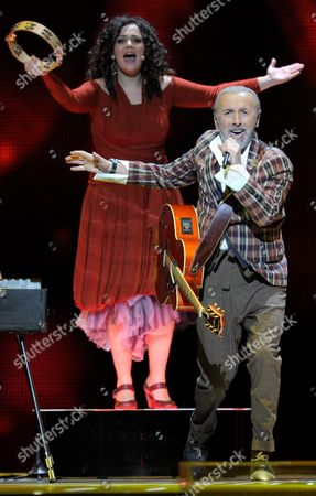 Dino Merlin (r) Representing Bosnia & Herzegovina Performs During the Final of the Eurovision Song Contest in Duesseldorf Germany 14 May 2011 25 Participants Are Competing For the Trophy of the 56th Eurovision Song Contest Germany Duesseldorf