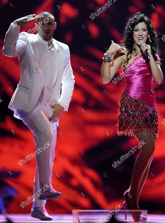 Lucia Perez (r) Representing Spain Performs During the Final of the Eurovision Song Contest in Duesseldorf Germany 14 May 2011 25 Participants Are Competing For the Trophy of the 56th Eurovision Song Contest Germany Duesseldorf
