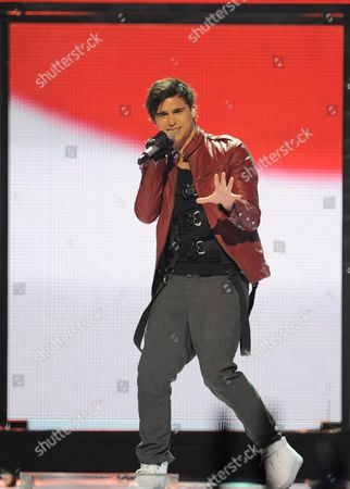 Eric Saade Representing Sweden Performs During the Final of the Eurovision Song Contest in Duesseldorf Germany 14 May 2011 25 Participants Are Competing For the Trophy of the 56th Eurovision Song Contest Germany Duesseldorf