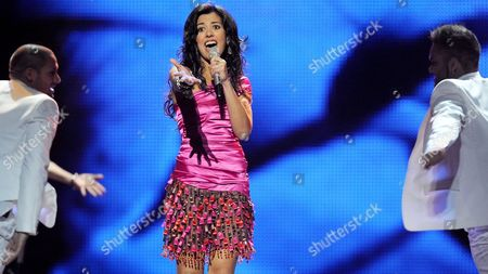 Lucia Perez (c) Representing Spain Performs During a Dress Rehearsal For the Final of the Eurovision Song Contest in Duesseldorf Germany 13 May 2011 the Finale of the 56th Eurovision Song Contest Takes Place on 14 May 2011 Germany Duesseldorf