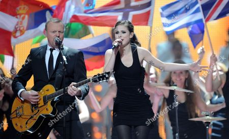 Tv Host and Producer Stefan Raab and Singer Lena Representing Germany Performs During a Dress Rehearsal For the Final of the Eurovision Song Contest in Duesseldorf Germany 13 May 2011 the Finale of the 56th Eurovision Song Contest Takes Place on 14 May 2011 Germany Duesseldorf