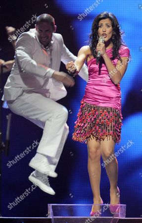 Lucia Perez (r) Representing Spain Performs During a Dress Rehearsal For the Final of the Eurovision Song Contest in Duesseldorf Germany 13 May 2011 the Finale of the 56th Eurovision Song Contest Takes Place on 14 May 2011 Germany Duesseldorf