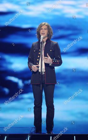 Amaury Vassili Representing France Performs During a Dress Rehearsal For the Final of the Eurovision Song Contest in Duesseldorf Germany 13 May 2011 the Finale of the 56th Eurovision Song Contest Takes Place on 14 May 2011 Germany Duesseldorf