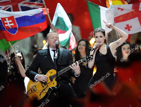 German Tv Presenter and Show Host Stefan Raab and Lena Representing Germany Perform Prior to the Beginning of the Final of the Eurovision Song Contest in Duesseldorf Germany 14 May 2011 25 Participants Are Competing For the Trophy of the 56th Eurovision Song Contest Germany Duesseldorf