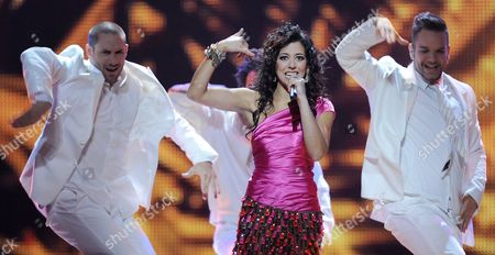 Lucia Perez Representing Spain Performs During the Final of the Eurovision Song Contest in Duesseldorf Germany 14 May 2011 25 Participants Are Competing For the Trophy of the 56th Eurovision Song Contest Germany Duesseldorf