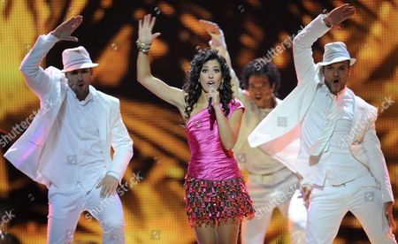 Lucia Perez (c) Representing Spain Performs During the Final of the Eurovision Song Contest in Duesseldorf Germany 14 May 2011 25 Participants Are Competing For the Trophy of the 56th Eurovision Song Contest Germany Duesseldorf