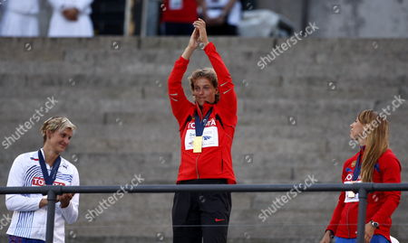 Javelin Gold Medal Winner Steffi Nerius (c) of Germany Celebrates During the Medal Ceremony at the 12th Iaaf World Championships in Athletics Berlin Germany 19 August 2009 at Right is Bronze Medal Winner Maria Abakumova of Russia and Left Silver Medalist Barbora Spotakova of the Czech Republic Germany Berlin