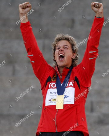 Javelin Gold Medal Winner Steffi Nerius of Germany Celebrates During the Medal Ceremony at the 12th Iaaf World Championships in Athletics Berlin Germany 19 August 2009 Germany Berlin