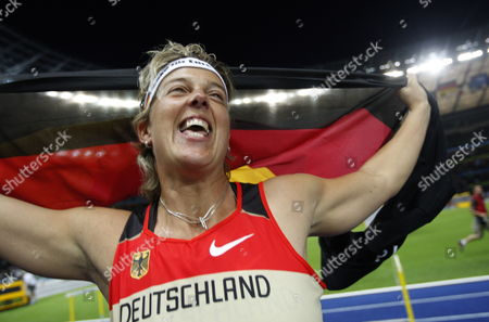 Steffi Nerius of Germany Celebrates After Winning the the Javelin Final at the 12th Iaaf World Championships in Athletics Berlin Germany 18 August 2009 Germany Berlin