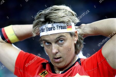 Germany's Steffi Nerius Adjusts Her Headband During the Javelin Final at the 12th Iaaf World Championships in Athletics Berlin Germany 18 August 2009 Nerius Won Gold Germany Berlin
