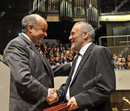 Hungarian Author Gyoergy Dalos (r) Receives the Leipzig Book Award For European Understanding 2010 From the President of the German Publishers and Booksellers Association Gottfried Honnefelder (l) at the Gewandhaus in Leipzig Germany 17 March 2010 This 2010 Award Presentation Marked the Official Opening of the Leipzig Book Fair Running Until 21 March 2010 Germany Leipzig