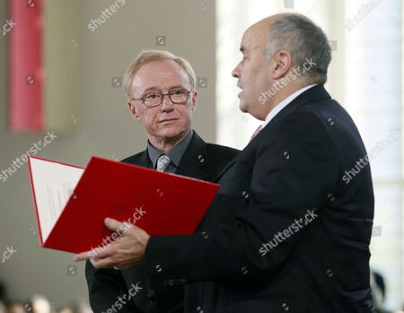 Israeli Writer David Grossmann (l) is Awarded with the Peace Prize of the German Book Trade by Gottfried Honnefelder President of the German Publishers and Booksellers Association at the Paulskirche in Frankfurt Germany 10 October 2010 Grossmann is Awarded the Peace Prize of the German Book Trade For His Books 'Demonstrating That the Violence and Hatred in the Middle East Can Be Overcome Only by Listening and Using the Power of the Word ' According to the Jury Germany Frankfurt Am Main