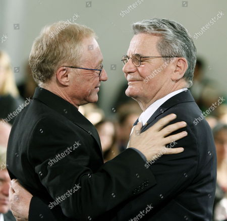 Israeli Writer David Grossmann (l) Hugs Joachim Gauck who Delivered the Laudatory Speech at the Paulskirche in Frankfurt Germany 10 October 2010 Grossmann is Awarded the Peace Prize of the German Book Trade For His Books 'Demonstrating That the Violence and Hatred in the Middle East Can Be Overcome Only by Listening and Using the Power of the Word ' According to the Jury Germany Frankfurt Am Main