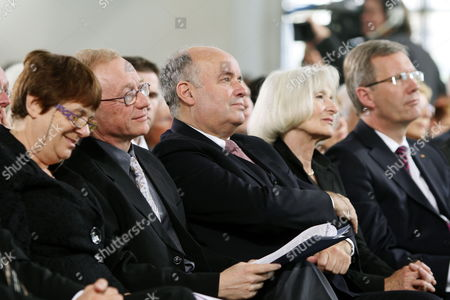 Michal Grossmann Wife of the Israeli Writer David Grossmann (2-l) President of the German Publishers and Booksellers Association Gottfried Honnefelder (c) His Wife Martinaáhonnefelder and German President Christian Wulff Sit in the Paulskirche in Frankfurt Germany 10 October 2010 Grossmann is Awarded the Peace Prize of the German Book Trade For His Books 'Demonstrating That the Violence and Hatred in the Middle East Can Be Overcome Only by Listening and Using the Power of the Word ' According to the Jury Germany Frankfurt Am Main