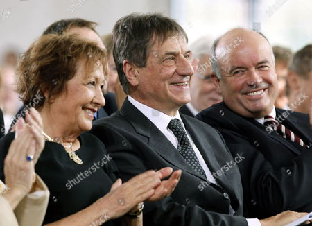 Italian Author Claudio Magris (l) with His Wife Jole Zanetti (l) Prior to Being Awarded at the Paulskirche Church in Frankfurt Am Main with the Peace Prize of the German Book Association by Gottfried Honnefelder (r) Principal of the Association 18 October 2009 the Author and Germanic is Honored For His Literary Efforts on Coexistence and Cooperation of Different Cultures in Europe the Prize is Valued at 25000 Euros Germany Frankfurt/main