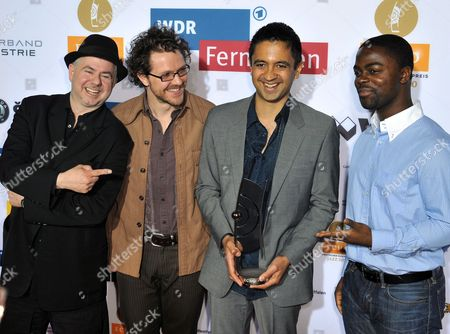 The Band Vijay Iyer Trio Pose with Their Trophy and Laudator Helmut Zerlett (l) During the Award Ceremony of the Echo Jazz Music Award at the Jahrhunderthalle in Bochum Germany 05 May 2010 the Band Received the Award in the Category 'Ensemble of the Year National' the Echo Jazz is Awarded For the First Time This Year Germany Bochum