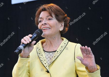 Stock Picture of Singer Lys Assia From Switzerland Performs on Stage at the 'Airport Grand Prix' at the Airport in Duesseldorf Germany 01 May 2011 Lys Assia Won the First Eurovision Song Contest in Lugano in 1956 with the Song 'Refrain' Germany Duesseldorf