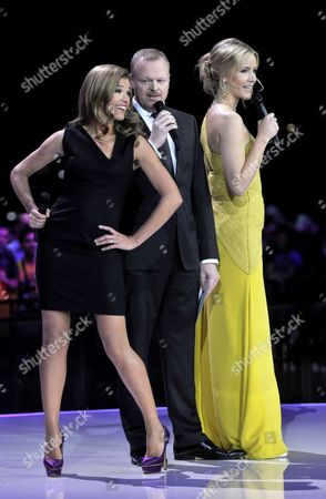 German Hosts of the Eurovision Song Contest 2011 Anke Engelke (l) Stefan Raab and Judith Rakers Hosts Are Pictures on Stage During the Second Semi-final of the Eurovision Song Contest in Duesseldorf Germany 12 May 2011 the Final of the 56th Eurovision Song Contest Takes Place on 14 May 2011 Germany Duesseldorf
