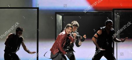 Eric Saade (c) Representing Sweden Performs During the First Dress Rehearsal For the Second Semi-final of the Eurovision Song Contest in Duesseldorf Germany 11 May 2011 the Final of the 56th Eurovision Song Contest Takes Place on 14 May 2011 Germany Dueseldorf