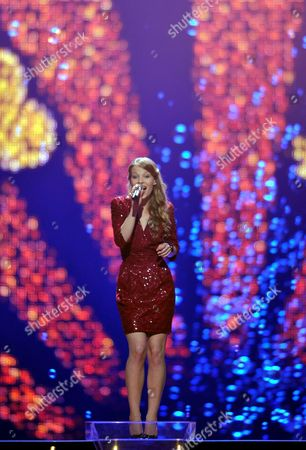 Anna Rossinelli Representing Switzerland Performs During the First Semi-final of the Eurovision Song Contest in Duesseldorf Germany 10 May 2011 the Final of the 56th Eurovision Song Contest Takes Place on 14 May 2011 Germany Duesseldorf