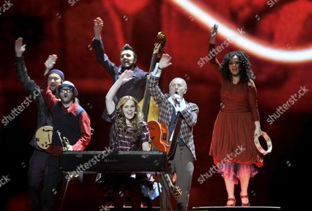 Dino Merlin (2-r) Representing Bosnia & Herzegovina Performs During the First Dress Rehearsal For the Second Semi-final of the Eurovision Song Contest in Duesseldorf Germany 11 May 2011 the Final of the 56th Eurovision Song Contest Takes Place on 14 May 2011 in Duesseldorf Germany Duesseldorf