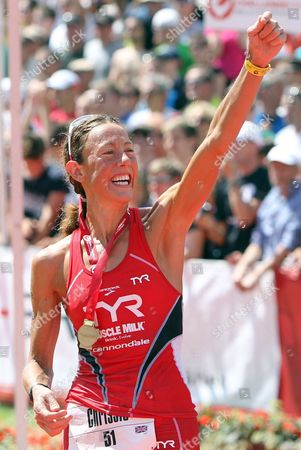 British Triathlete Chrissie Wellington (34) Cheers After the Cycling Etappe of the 10th Ironman Challenge in Hipoltstein Germany 10 July 2011 For the Ironman the Participants Have to Swim 3 8 Km Cycle 180 Km and Run 42 195 Km Germany Hilpoltstein