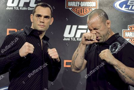 Us Ufc Middleweight Title Holder Rich Franklin (l) and His Brazilian Contender Wanderlei Silva Pose During a Press Conference in Cologne Germany 03 March 2009 Both of Them Promoted They Ultimate Fighting Championship Fight Taking Place on 13 June Germany Cologne