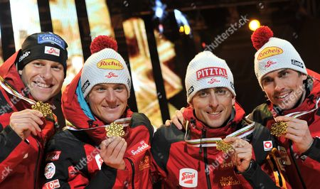 Nordic Combined Gold Medalists Bernhard Gruber David Kreiner Mario Stecher and Felix Gottwald of Austria Show Their Medals During the Medal Ceremony in the Oslo Medal Plaza at the Nordic Skiing World Championships in Oslo Norway 04 March 2011 Norway Oslo
