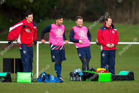 Gavin Henson and Nick Carpenter look on as Siale Piutau joins up with his new Bristol Rugby Teammates in training ahead of the Anglo Welsh Cup clash against Exeter Chiefs