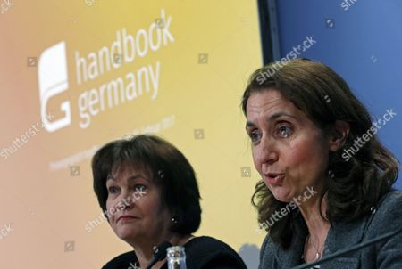 German Minister of State and Commissioner for Immigration, Refugees and Integration, Aydan Ozoguz (R) speaks next to Birgit Klesper (L), President Group Corporate Responsibility of Deutsche Telekom, during the presentation of the new web portal for refugees in Germany, in Berlin, Germany, 01 February 2017. The new site 'Handbookgermany.de' offers information useful to refugees arriving or living in Germany.