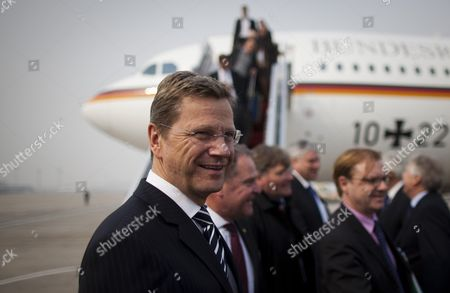 German Foreign Minister Guido Westerwelle is Pictured in Front of the Airplane 'Theodor Heuss' at the Airport in Beijing China 31 March 2011 Westerwelle is on a Two-day-visit to China and Intends to Meet Vice-prime Minister Li Kequiang China Beijing