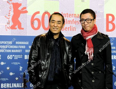 Chinese Director Zhang Yimou (l) and Chinese Actor Sun Honglei (r) Attend the Press Conference of the Movie 'A Woman a Gun and a Noodle Shop' (san Qiang Pai an Jing Qi) During the 60th Berlin International Film Festival in Berlin Germany 14 February 2010 the Movie is Presented in Competition at the Berlinale 2010 Running Until 21 February Germany Berlin