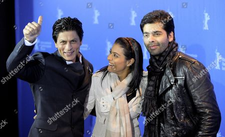 (l-r) Indian Actor Shah Rukh Khan Indian Actress Kajol Devgan and Indian Director Karan Johar Attend the Photo Call For the Film 'My Name is Khan' During the 60th Berlinale International Film Festival in Berlin Germany 12 February 2010 the Festival Runs Until 21 Febuary 2010 Germany Berlin