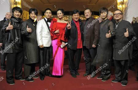 Actors Jackie Chan (c) and Peng Lin (4-l) Arrive with Director Ding Sheng (3-r) and Cast Members For the Premiere of Their Film 'Little Big Soldier' During the 60th Berlin International Film Festival in Berlin Germany 17 February 2010 the Film is Presented in the Berlinale Special Section of the Festival Running Until 21 February Germany Berlin