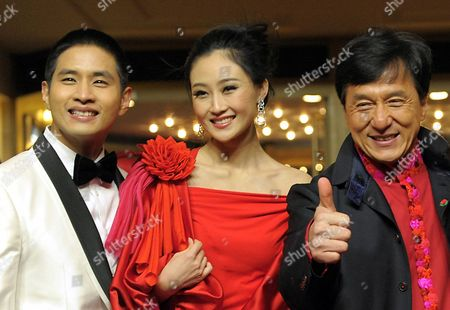 Actors Jackie Chan (r) Peng Lin (c) and Steve Yoo Arrive For the Premiere of Their Film 'Little Big Soldier' During the 60th Berlin International Film Festival in Berlin Germany 17 February 2010 the Film by Director Ding Sheng is Presented in the Berlinale Special Section of the Festival Running Until 21 February Germany Berlin