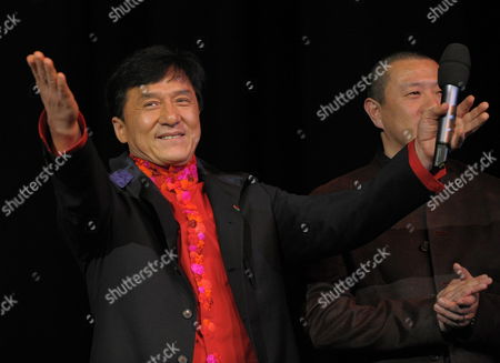 Hong Kong Actor Jackie Chan (l) Attends the Premiere of the Film 'Da Bing Xiao Jiang' (little Big Soldier) During the 60th Berlin International Film Festival in Berlin Germany 17 February 2010 the Film Directed by Ding Sheng is Presented in Competition at the Berlinale 2010 Running Until 21 February Germany Berlin