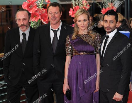 Stock Picture of Austrian Actor Karl Markovics (l-r) German Actors Sebastian Koch and Diane Kruger and Spanish Director Jaume Collet-serra Arrive For the Premiere of Their Movie 'Unknown' During the 61st Berlin International Film Festival in Berlin Germany 18 February 2011 the Movie is Presented out of Competition at the 61st Berlinale Running From 10 to 20 February Germany Berlin
