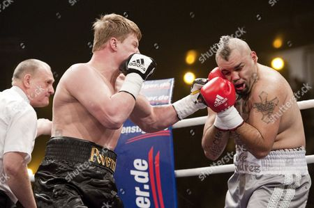 Mexican Boxer Javier Mora (r) Receives a Punch From Russian Boxer Alexander Povetkin During Their 10 Round Bout in Berlin Germany 13 March 2010 Povetkin Won in the 5th Round Through Technical Knockout Germany Berlin