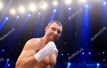 Ukrainian Heavyweight Boxing Title Holder Vitali Klitschko Celebrates After Knocking Down Odlanier Solis of Cuba During the First Round of Their Wbc World Heavyweight Championship Fight in Cologne Germany 19 March 2011 Germany Cologne