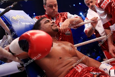 Cuban Contender Odlanier Solis Sits in His Corner After Being Knocked Down by Ukrainian Heavyweight Boxing Title Holder Vitali Klitschko in the First Round of Their Wbc World Heavyweight Championship Fight in Cologne Germany 19 March 2011 Germany Cologne
